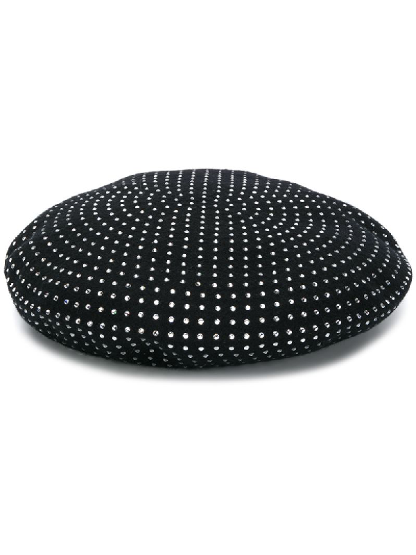 Saint Laurent Wool Beret With Crystals Embellishments In Black