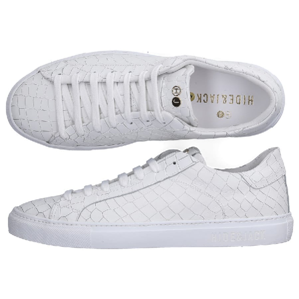 Hide & Jack Low-Top Sneakers Tuscany  Calfskin Embossing Logo White