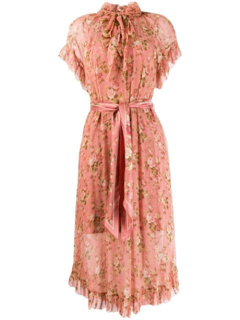 Zimmermann Ruffled Floral Day Dress In Pink