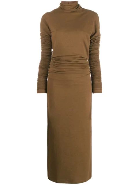 Lemaire Long Sleeve Turtleneck Ruched Dress In 468 Dark Earth