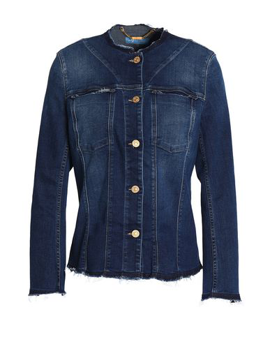 7 For All Mankind No Collar Denim Jacket In Blue