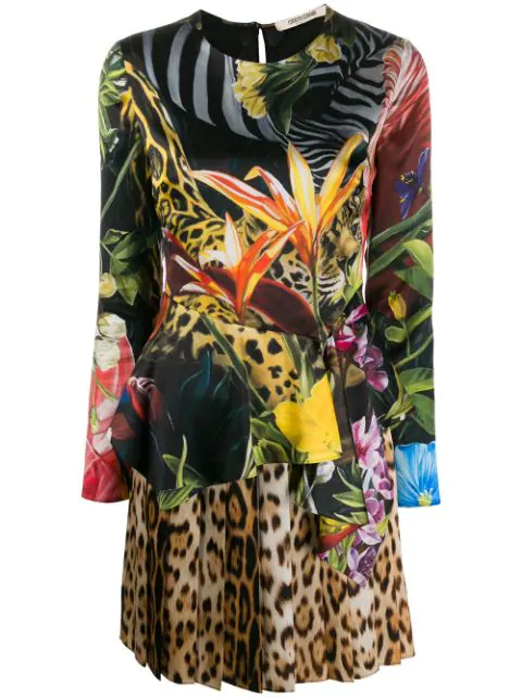 Roberto Cavalli Jungle And Leopard Printed Dress In Yellow