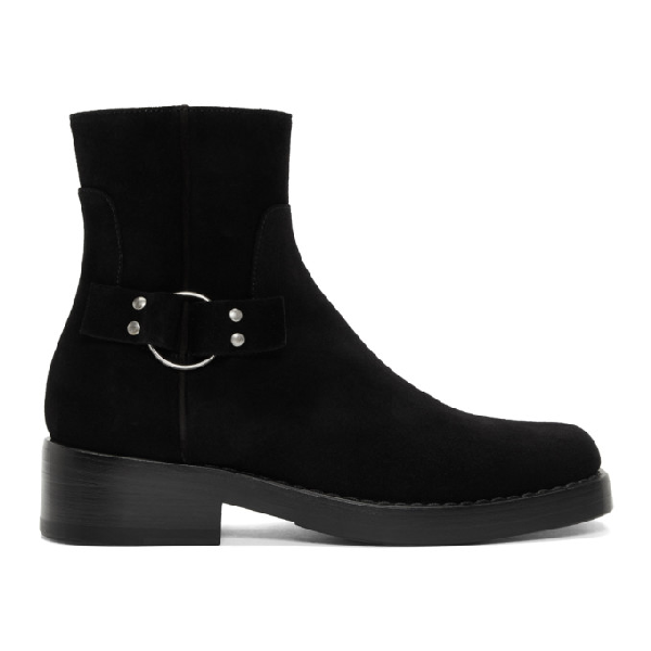 Raf Simons Black Suede High Sole Detail Low Boots