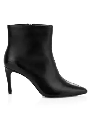 Ash Bianca Leather Ankle Boots In Black