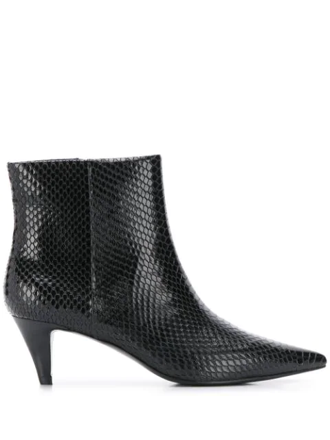 Ash Cameron Python-embossed Leather Ankle Boots In Black