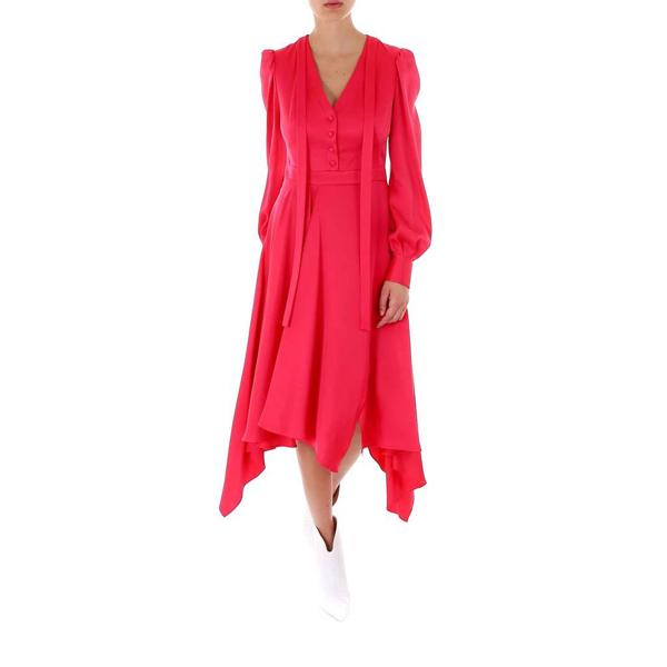Alexander Mcqueen Tie Neckline Asymmetric Midi Dress In Pink