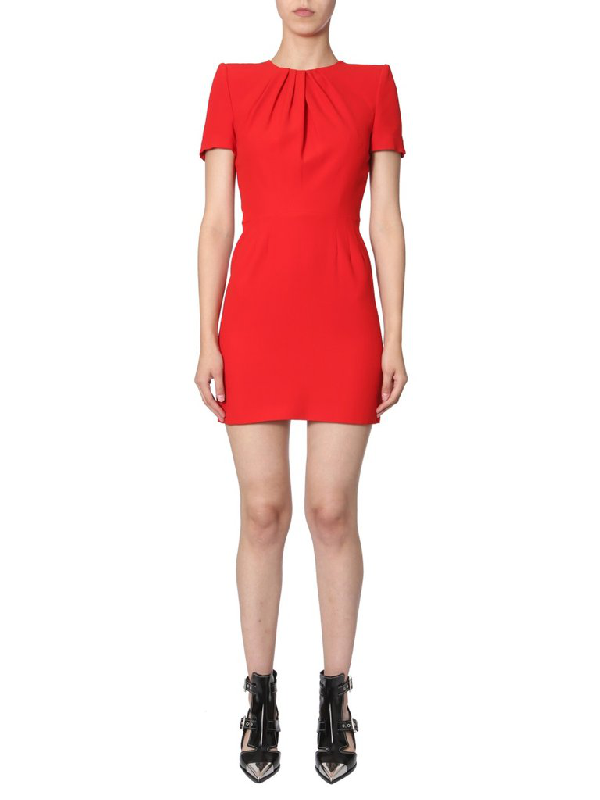Alexander Mcqueen Draped Detail Fitted Dress In Red