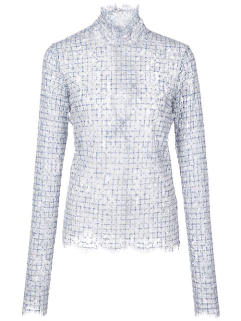 Rosie Assoulin Lace Check Knit Turtleneck Top In Blue