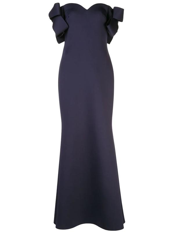 Badgley Mischka Sweetheart Off-the-shoulder Gown In Blue