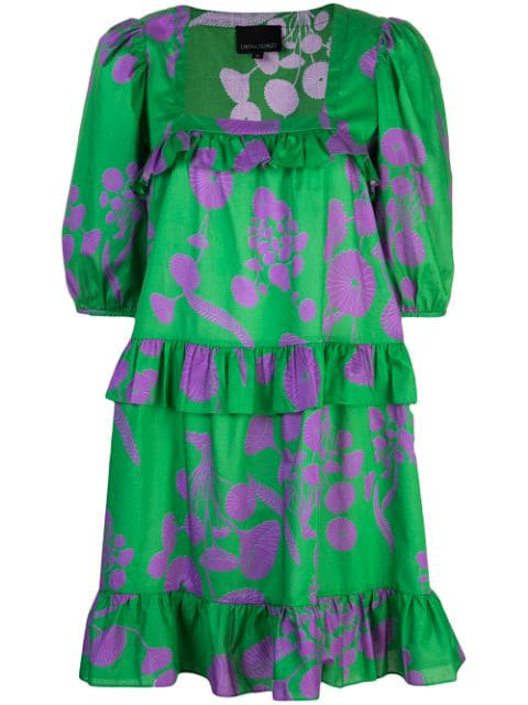 Cynthia Rowley Kuaii Ruffle Swing Dress In Green