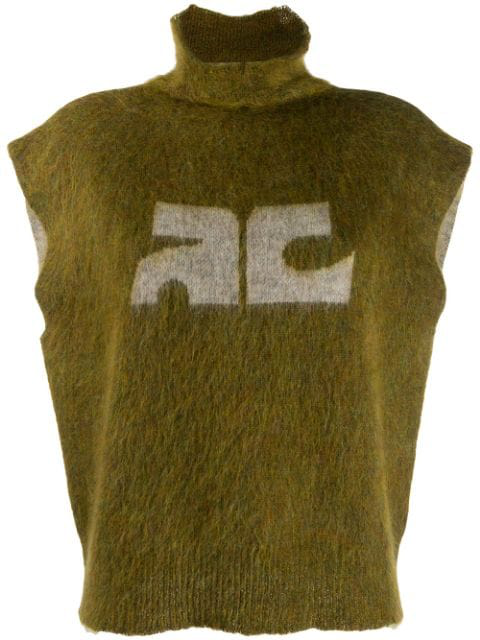 CourrÈGes Sleeveless Knit Jumper In Green