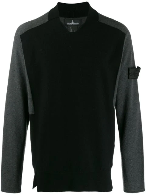 Stone Island Shadow Project Two-tone Knit Jumper In Grey