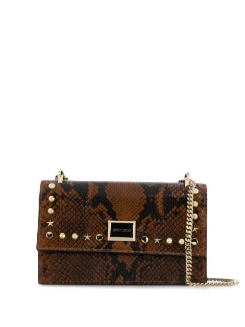 Jimmy Choo Leni Snake Print Bag In Brown