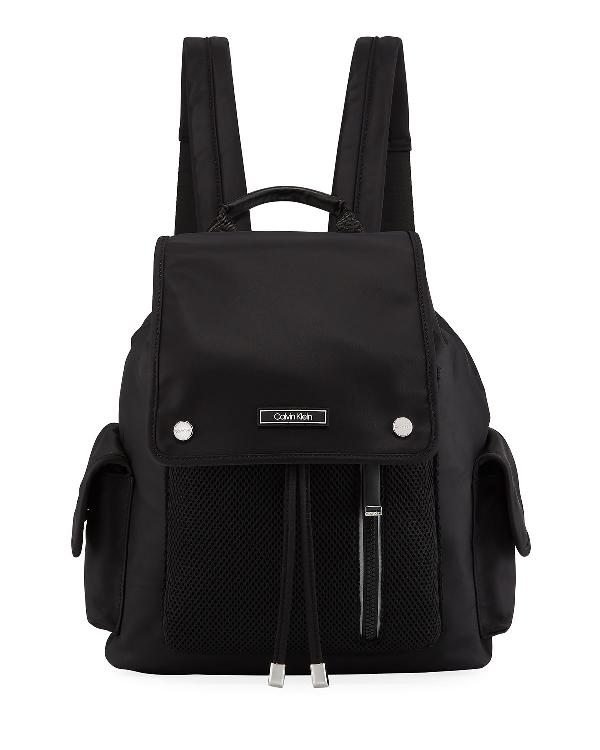 Iconic American Designer Tali Nylon & Mesh Backpack Bag In Black/Silver