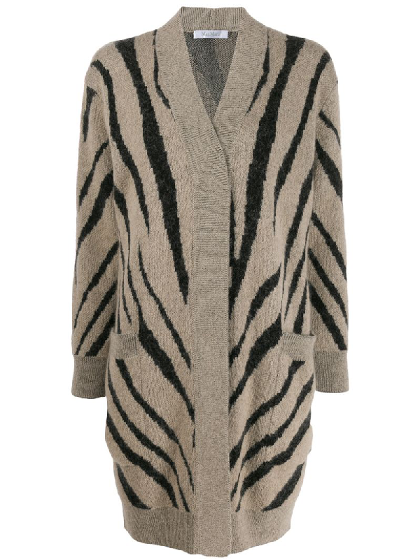 Max Mara Zebra Print Mohair Blend Knit Cardigan In Neutrals