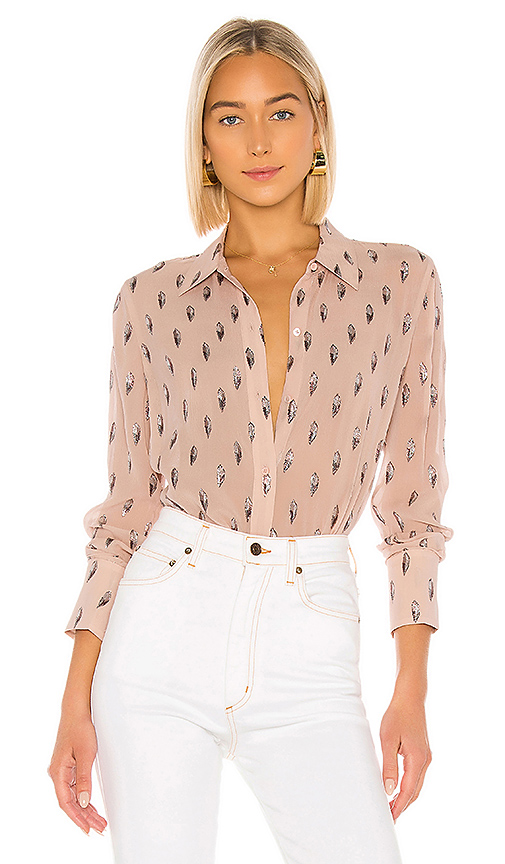 Equipment Sedienne Printed Long-Sleeve Button-Down Shirt In Misty Rose