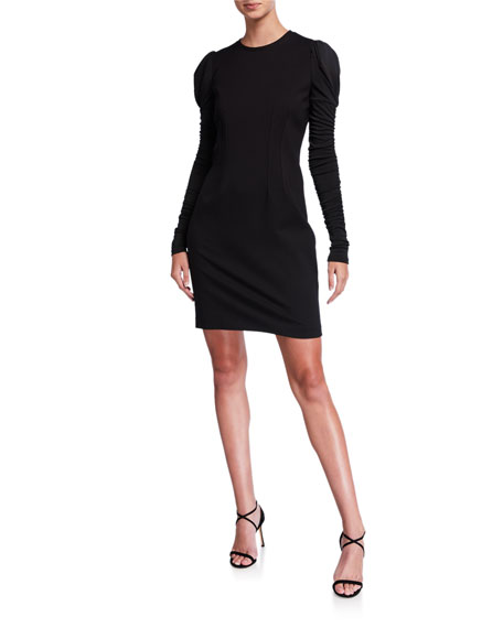 Elie Tahari Fidelia Long-Sleeve Slit-Back Mini Ponte Dress In Black