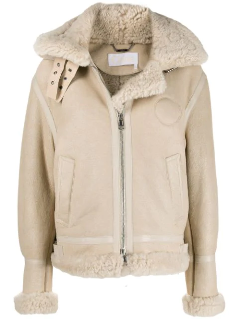 ChloÉ Shearling And Leather Aviator Jacket In Neutrals