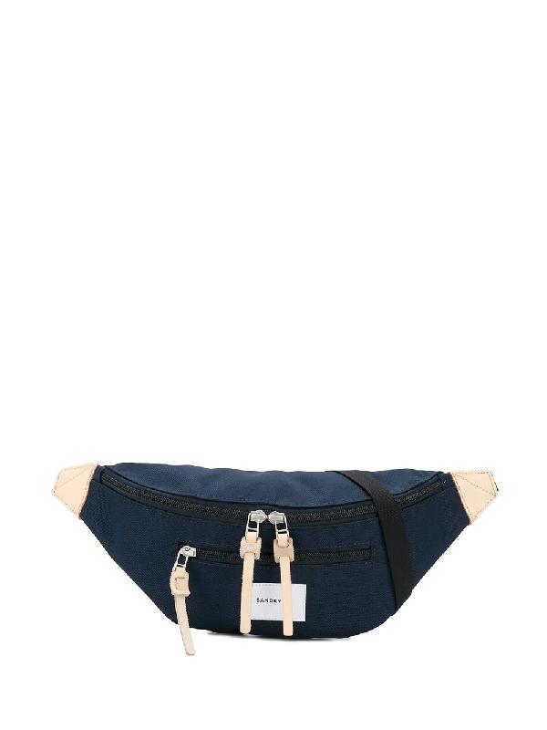 Sandqvist Aste Navy Canvas Belt Bag In Blue