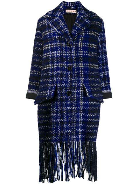 Marni Check Tweed Blanket Coat In Blue