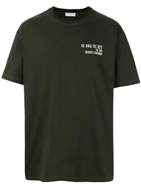 Ih Nom Uh Nit Logo & Quote Print Cotton Jersey T-Shirt In Military