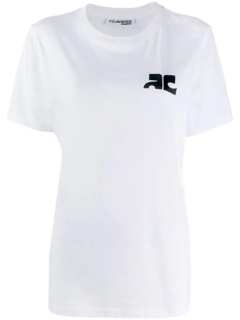 CourrÈGes Logo Cotton Jersey Top In White