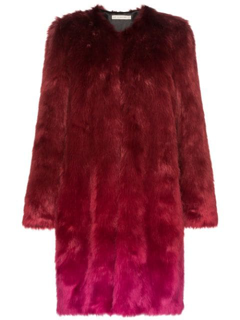 Mary Katrantzou Thalia Ombre Faux Fur Coat In Red
