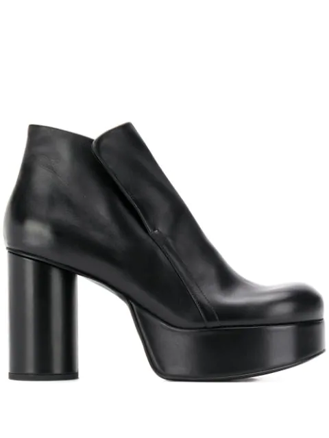 Jil Sander Ankle Leather Boots In 999 Nero