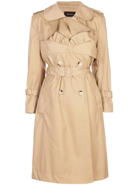 Simone Rocha Frill Detailed Belted Trench In Tan