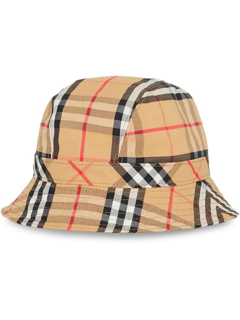 Burberry Multicoloured Vintage Check Cotton Bucket Hat In Ant Yellow