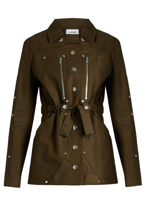 CourrÈGes Belted Stretch Cotton Jacket In Khaki
