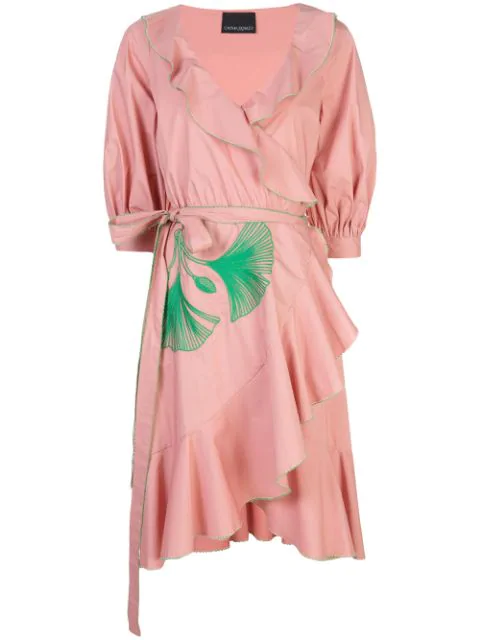 Cynthia Rowley Cleo Embroidered Wrap Dress In Pink