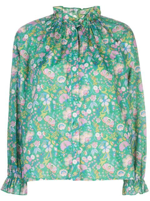 Cynthia Rowley Floral Cotton Waterfall Top In Grnfl - Green Floral
