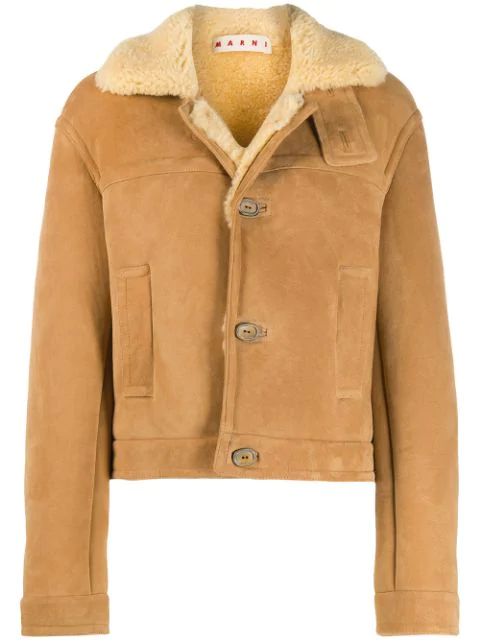 Marni Shearling Button-up Short Coat In Neutrals