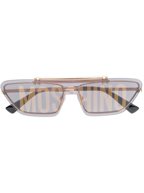 Moschino Eyewear Logo Print Cat Eye Sunglasses In Gold