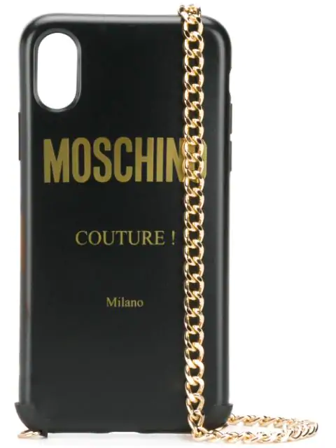 Moschino Fantasy Print Iphone X/xs Case With Chain In Black