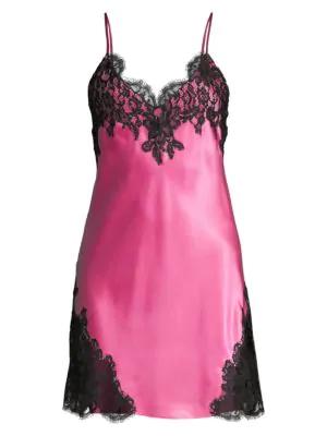 Christine Women's Diva Silk & Lace Chemise In Peony