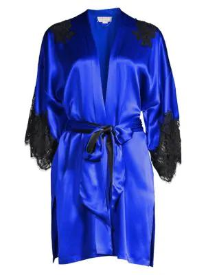 Christine Women's Diva Lace-trim Silk Kimono In Cobalt