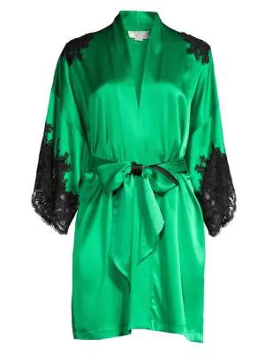 Christine Women's Diva Lace-trim Silk Kimono In Emerald