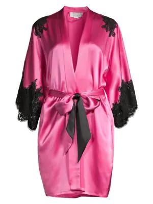 Christine Women's Diva Lace-trim Silk Kimono In Peony