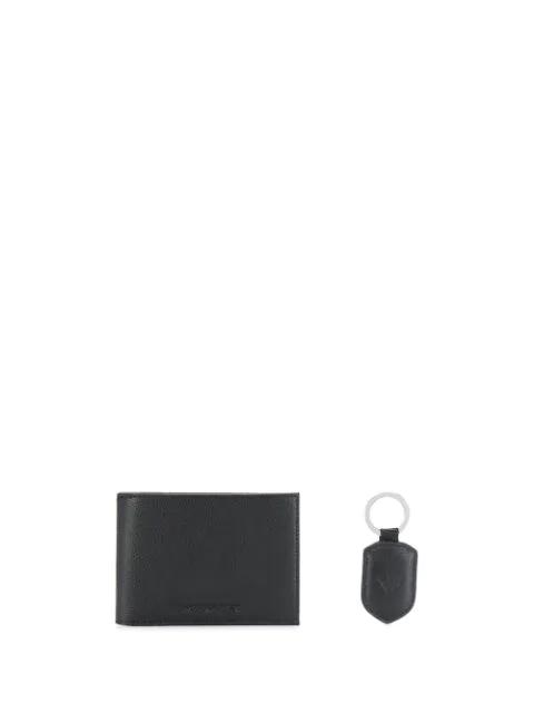 Emporio Armani Embossed Logo Wallet In Black