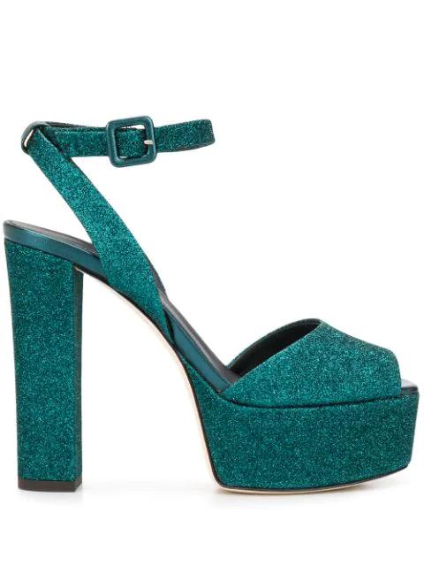 Giuseppe Zanotti Glitter Platform Sandal In Blue