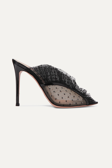 Gianvito Rossi 105 Ruffled Point D'esprit And Patent-leather Mules In Black