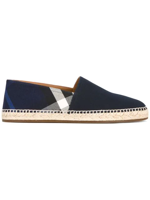 Burberry Overdyed House Check And Cotton Canvas Espadrilles In Indigo Blue