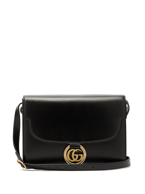 Gucci Gg Ring Small Leather Crossbody Bag In Black