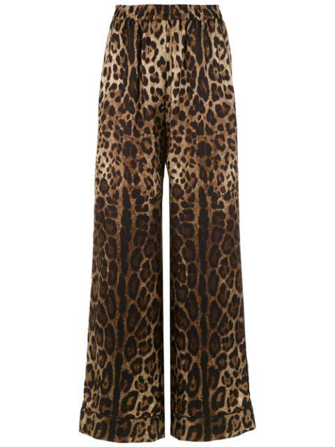 Dolce & Gabbana Elastic Waist Animal Print Trousers In Brown