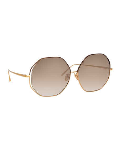 Linda Farrow Octagonal Titanium Sunglasses In Rose Gold/Mocha