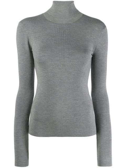 Joseph Stretch Silk-blend Turtleneck Sweater In 069 Grey Chin
