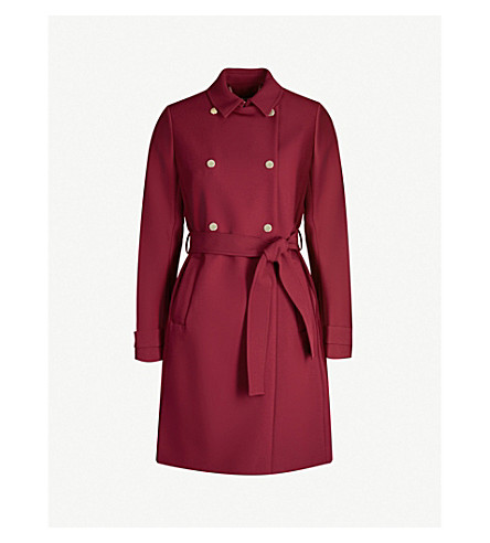 Ted Baker Mirrored-Button Double-Breasted Woven Coat In Oxblood