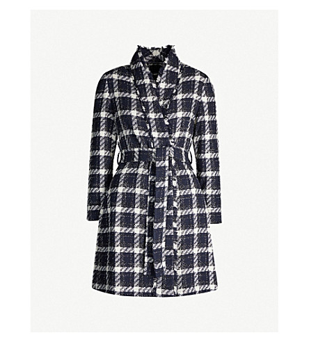 Ted Baker Frayed Checked Cotton-Blend Tweed Coat In Dk-Blue